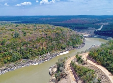 An aerial view shows the Rufiji river flowing through the ranges.